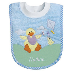Personalized Duck Bib in Blue