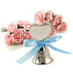 Personalized Silver Heart Wedding Bell
