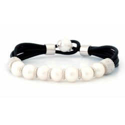 Multi Stand Pearl and Leather Bracelet with Diamonds