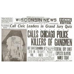 St. Valentine's Day Massacre Historic Replica Newspaper