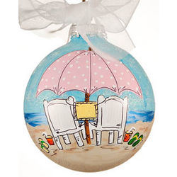 Beach Wedding or Honeymoon Christmas Ornament
