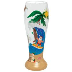 Santa's Vacation Hand-Painted Beer Glass
