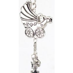 Engraved Baby Buggy Ornament with Dangle Charms