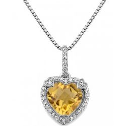 Citrine and Diamond Birthstone Heart Pendant in Sterling