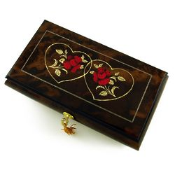 Walnut Double Red Rose and Heart Musical Jewelry Box