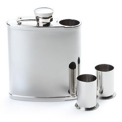 Stainless Steel Flask with 2 Built-In Shot Glasses