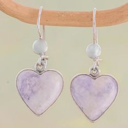 Lilac Love Immemorial Jade Heart Earrings
