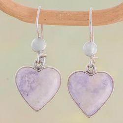 Lilac Love Immemorial Jade Heart Earrings