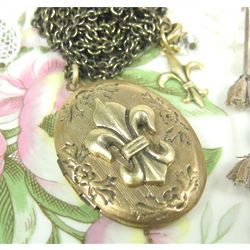 Long Fleur de Lis Locket Necklace