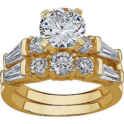 Gold-Plated Cubic Zirconia Wedding Ring Set