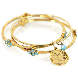 Hummingbird Coin Bangle Bracelet