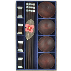 Shell Inlay Chopsticks and Wood Bowl Set
