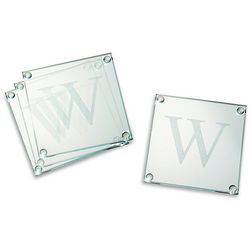 Personalized Elegant Initial Glass Coasters