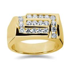 1.00 ctw Men's Diamond Ring in 14K Yellow Gold