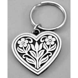 Engravable Pewter Heart Tulip and Flowers Keyring