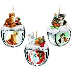 Purrfect Holiday Sleigh Bells Cat-Themed Christmas Ornaments
