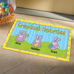 Personalized Easter Bunnies Design Doormat