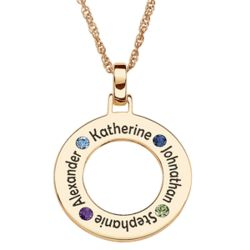 Gold Over Sterling 5 Family Name & Birthstone Disc Necklace