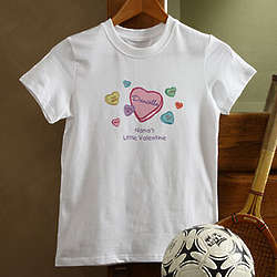Personalized Candy Hearts Valentine's Day Kids T-Shirt