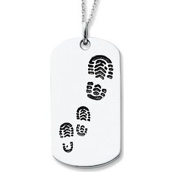 Sterling Silver Footsteps Daddy Necklace