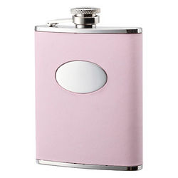 Pink Leather Bonded Stainless Steel Flask
