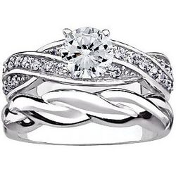 Platinum Over Sterling Silver Twist Bridal Set