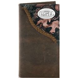 LSU Tigers Camouflage Leather Long Roper Wallet
