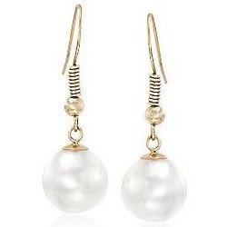 9-10 mm Cultured Pearl Drop Earrings in 14kt Yellow Gold