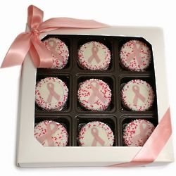 Pink Ribbon Chocolate-Dipped Oreo Cookies Gift Box