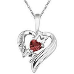 Heart-Shaped Garnet and Diamond Mom Necklace in 10k White Gold