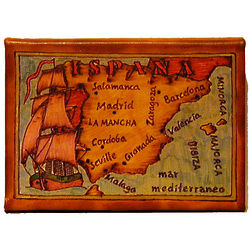 Map of Spain Leather Photo Album in Color