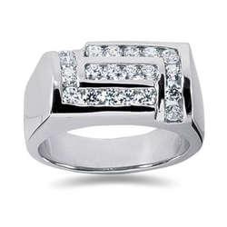 1.00 ctw Men's Diamond Ring in 18K White Gold