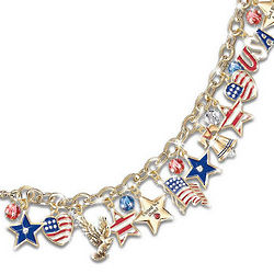 American Patriotic Engraved Sterling Silver Charm Bracelet