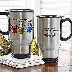 Touches A Life Teacher Handprint Travel Mug