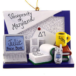 College Ornament Personalized Dorm Room/Student Desk