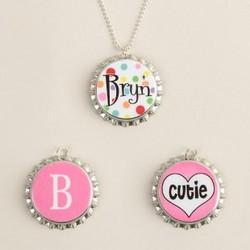 Personalized Bottle Cap Necklace Set
