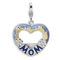 Blue Enamel Heart Mom Photo Frame Charm in Sterling Silver