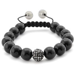Black Onyx and Black Crystal Shamballa Inspired Bracelet