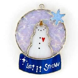 Snow Globe Stained Glass Ornament