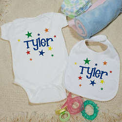 Baby's A Star is Born Personalized Creeper and Bib Set