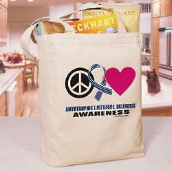 Peace Hope Love ALS Awareness Tote Bag