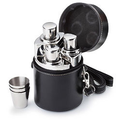 3-Piece Flasks and Shot Glasses in Black Carrying Case