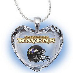 Baltimore Ravens Crystal Heart Pendant