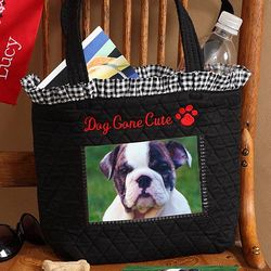Dog Gone Cute Embroidered Photo Tote Bag