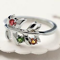 Sterling Silver Family Tree Birthstone Ring