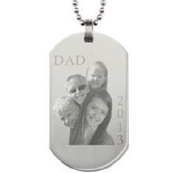 Father's Day Stainless Steel Dog Tag Photo Pendant