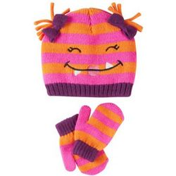 Pink Monster Hat and Mittens