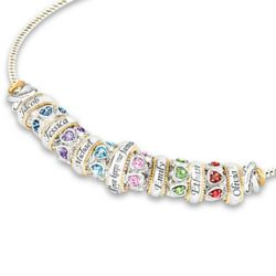 6 Engraved Name and Swarovski Crystal Birthstone Beads Necklace