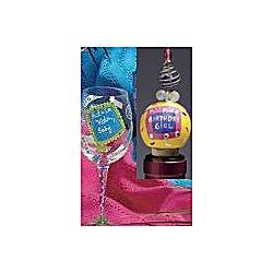 Wine Glass & Birthday Girl Wine Stopper Gift Set