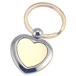 Personalized Gold and Silver Heart Key Chain